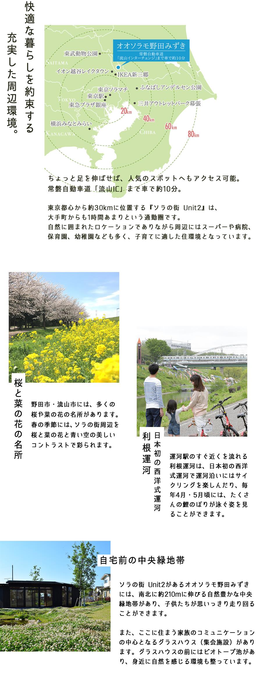 野田市・流山市には、多くの桜や菜の花の名所があります。春の季節には、ソラの街周辺を桜と菜の花と青い空の美しいコントラストで彩られます。