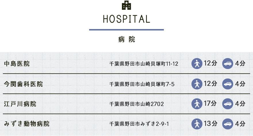 新築一戸建て ソラの街 Unit2の野田市周辺エリア情報「病院」
