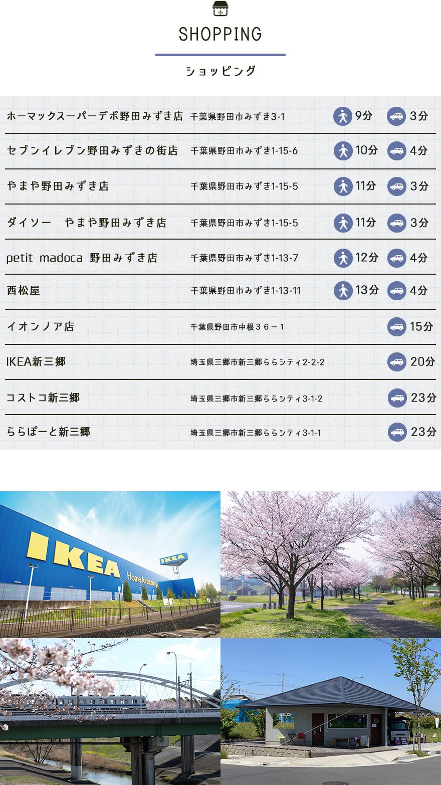 新築一戸建て ソラの街 Unit2の野田市周辺エリア情報「ショッピング」